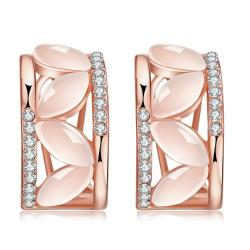 18K Rose Gold Hoop Earrings with Coral Glass Inlay Made with Swarovksi Elements only only from Rubique Jewelry Jewelry