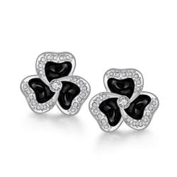 18K White Gold Rose Petal Studs Made with Swarovksi Elements only only from Rubique Jewelry Jewelry