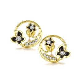 18K Gold Trio Butterflies Hoop Earrings Made with Swarovksi Elements only only from Rubique Jewelry Jewelry
