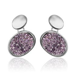 18K White Gold Studs with Lavender Jewels Coverings Made with Swarovksi Elements only only from Rubique Jewelry Jewelry