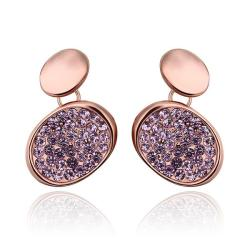 18K Rose Gold Studs with Lavender Jewels Coverings Made with Swarovksi Elements only only from Rubique Jewelry Jewelry