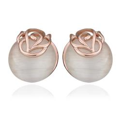 18K Rose Gold Swirl Design Large Pearl Stud Earrings Made with Swarovksi Elements only only from Rubique Jewelry Jewelry