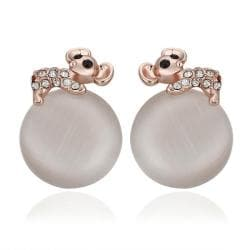 18K Rose Gold Large Pearl Center Stud Earrings Made with Swarovksi Elements only only from Rubique Jewelry Jewelry