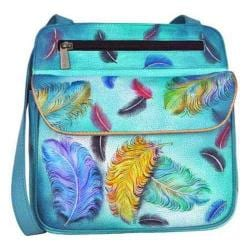 Women's Anuschka Multi Pocket Travel Cross Body Floating Feathers