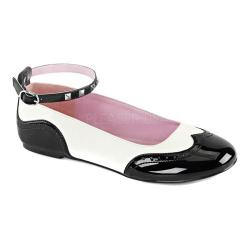 Women's Demonia Star 22 Ankle-Strap Flat Black Patent/White Vegan Leather