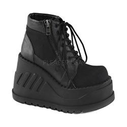 Women's Demonia Stomp 10 Platform Ankle Boot Black Canvas/Vegan Leather