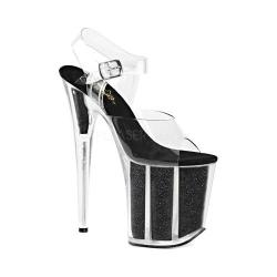 Women's Pleaser Flamingo 808G Platform Sandal Clear PVC/Black Glitter