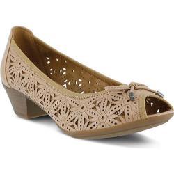 Women's Spring Step Gulley Peep Toe Shoe Tan Manmade