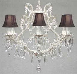 """WROUGHT IRON CRYSTAL CHANDELIER H 19"""" W 20"""" - WITH BLACK SHADES"""