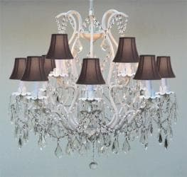 Swarovski Crystal Trimmed Chandelier! White Wrought Iron with Black Shades