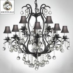 Swarovski Crystal Trimmed Chandelier! Wrought Iron Crystal Chandelier with Faceted Crystal Balls and Black Shades