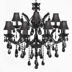 JET BLACK CHANDELIER CRYSTAL WITH BLACK SHADES!