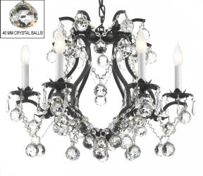 Swarovski Crystal Trimmed Chandelier! Black Wrought Iron Crystal Chandelier with Faceted Crystal Balls