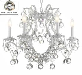 Swarovski Crystal Trimmed Chandelier! White Wrought Iron Crystal WITH FACETED CRYSTAL BALLS