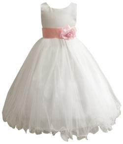 Wedding Easter Flower Girl Dress Paperio Ivory Rattail Satin Tulle (Baby - 14) Pink