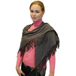 Women's Fashion Fringe Scarf Soft Triangle Shawl Wrap, Red Black Brown Grey Blue