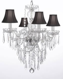 New! Authentic All Crystal Chandelier Chandeliers Lighting W/ Crystal Icicles and Black Shades