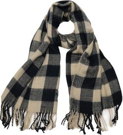 Buffalo Check Plaid Extra Large Warm Soft Wool Feel Scarf, Black Burgundy Green Navy