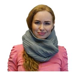 Womens Winter Warm Knit Infinity Scarf, Black Grey Orange Red