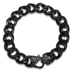 Mens Black Stainless Steel Chain Liink Bracelet
