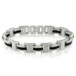 Oxford Ivy Mens Stainless Steel and Black Rubber Chain Link Bracelet 8 1/4inches