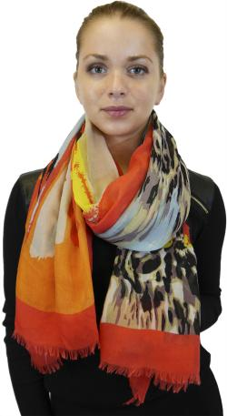 Lightweight Large Fringe Scarf Fashion Shawl Wrap for Women, Beautiful Multi Color Print