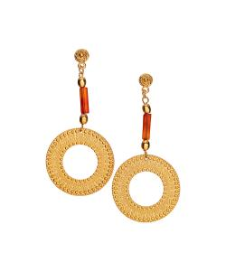 Coral & Gold Medallion Drop Earrings