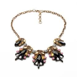 Black, Pink, Champagne Yellow Crystal Statement Necklace