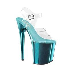 Women's Pleaser Flamingo 808 Clear PVC/Turquoise Chrome
