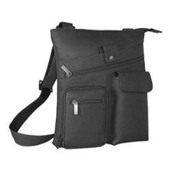 David King Leather 457 Multi Pocket Cross Bag Black
