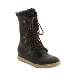 Women's XOXO Andy Lace Up Boot Black PU/Shearling