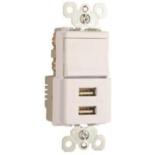 Pass & Seymour USB Charger with Single Pole/3-Way Switch, White