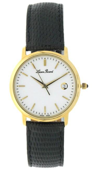 Lucien Piccard 18k Yellow Gold Lizard Strap Watch