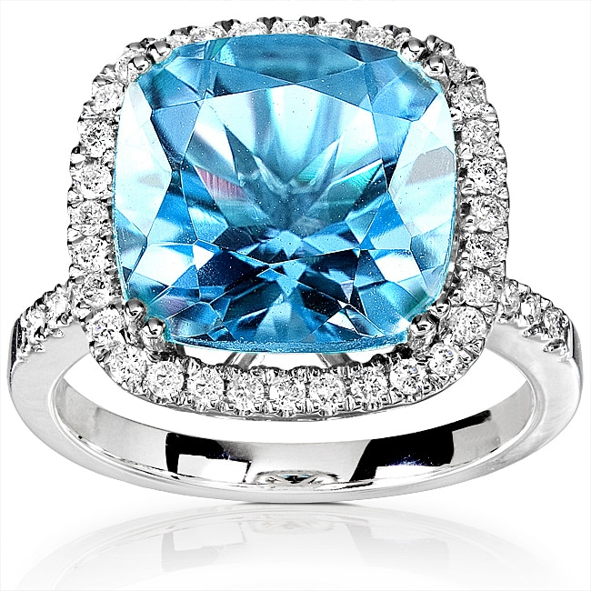 14k White Gold 1/3ct TDW Diamond Blue Topaz Ring (Size 7.5)