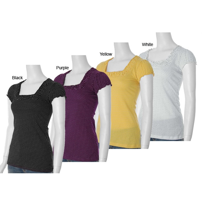 Self Esteem Women's Dot Print Cap Sleeve Shirt from Overstock.com