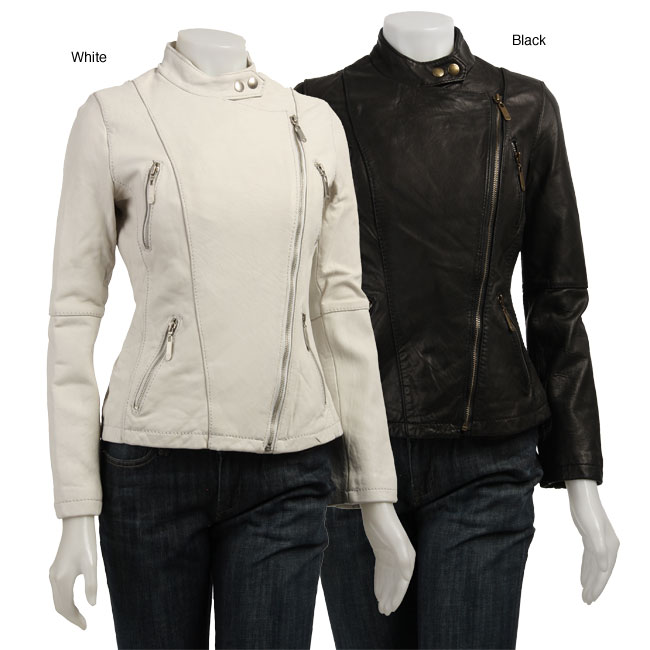 MICHAEL Michael Kors Women's Leather Biker Jacket from Overstock.com :  biker asymmetrical women michael kors