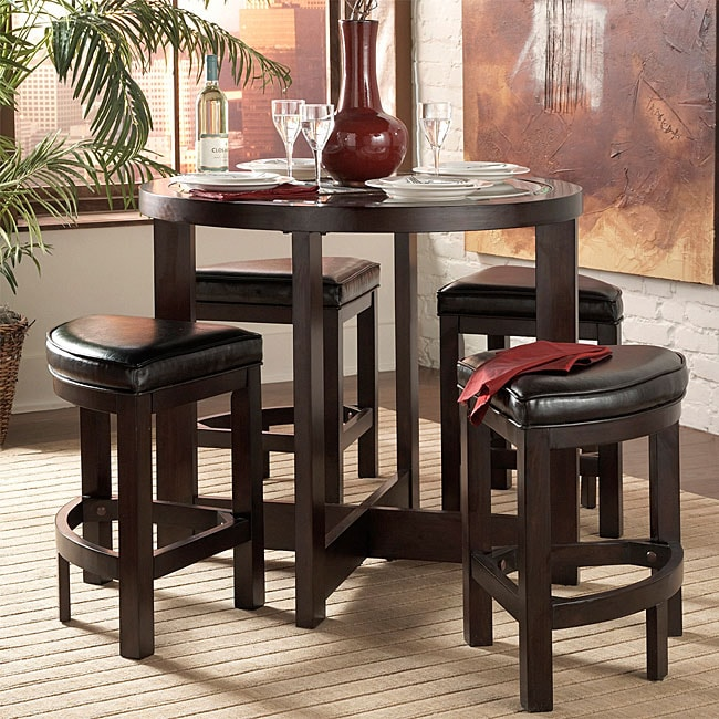 living spaces pub style bar set includes one table and four stools