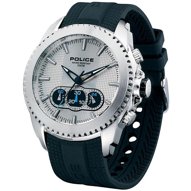 Police Men's Silver Tazer Chronograph Rubber Strap Watch