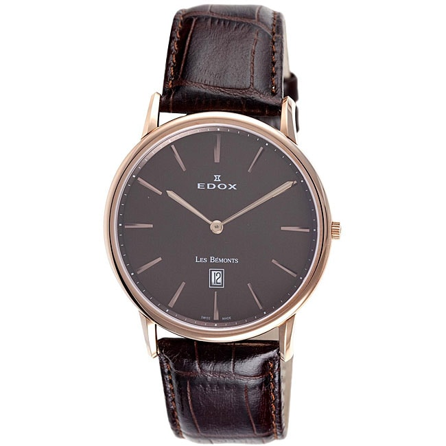 Edox Swiss Men's Les Bemonts Rose Goldtone Ultra-slim Watch