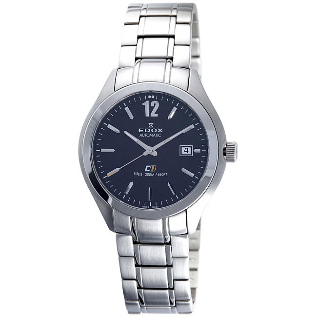 Edox Swiss Men's C1 Date Automatic Stainless Steel Watch