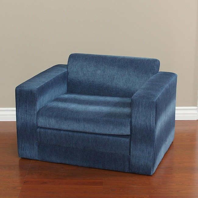 Blue Denim Kids Chair with Fold Out Sleeper