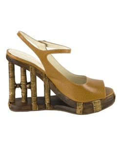 Prada Cuoio Leather Platform Wedge Sandals from Overstock.com