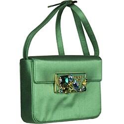 Prada Green Satin Convertible Clutch | Overstock.com