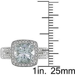 14k Gold Aquamarine and 1/4ct TDW Diamond Ring (H-I-J, I1-I2)