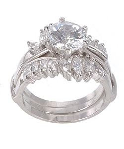 Sterling Silver CZ Two-piece Ring
