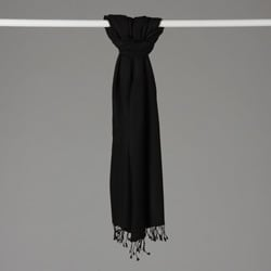 Black Pashmina and Silk Shawl
