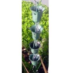 Tulip Green Patina 8-ft. Rain Chain