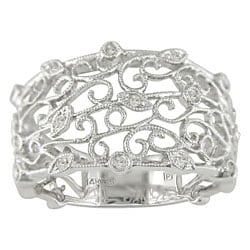 14-kt. White Gold 1/10ct TDW Round Diamond Filigree Ring (H-I, I1-I2) : Jewelry from Overstock.com :  filigree white gold jewelry