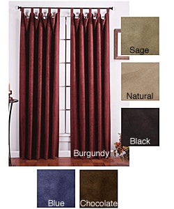 Faux Suede Chamois Tab Top Curtain Panel Pair