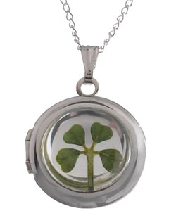 Sterling Silver Four-leaf Clover Locket from Overstock.com :  four overstock locket leaf